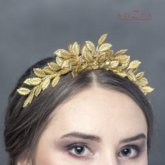 Gold tiara with beige rhinestones gold by boZkaLuxuryHandmade