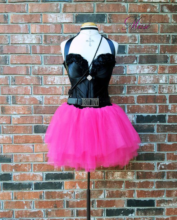 774e6c8c4e424 80s Madonna Costume w Accessories~ 80's Prom Dress~ Black Leather ...