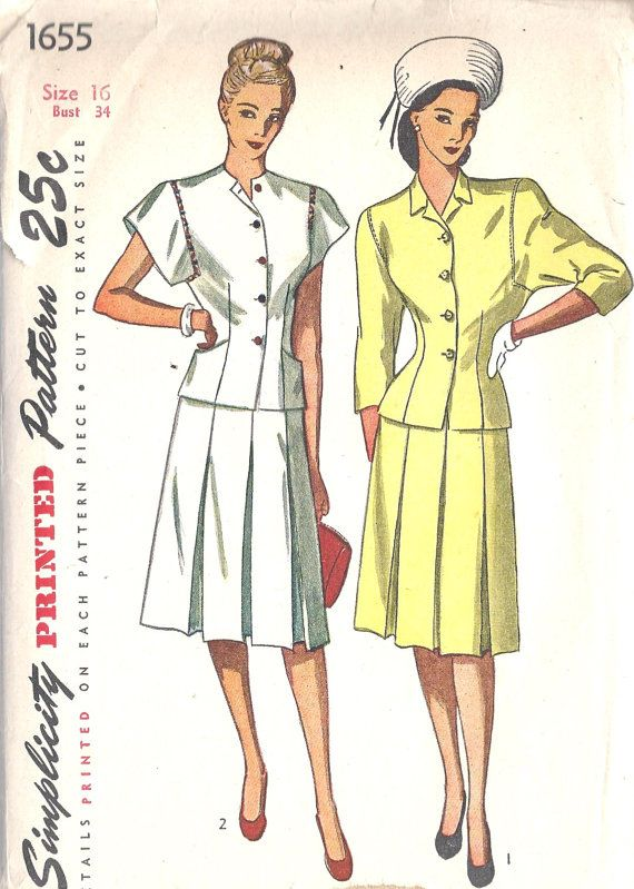 1940s Misses Two Piece Dress Vintage sewing by MissBettysAttic, $26.00