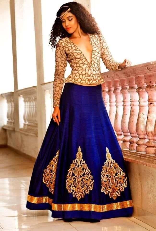 Fashion Style Indian Ethnic Royal Blue Golden Motif Ghagra Choli Designer Beautiful