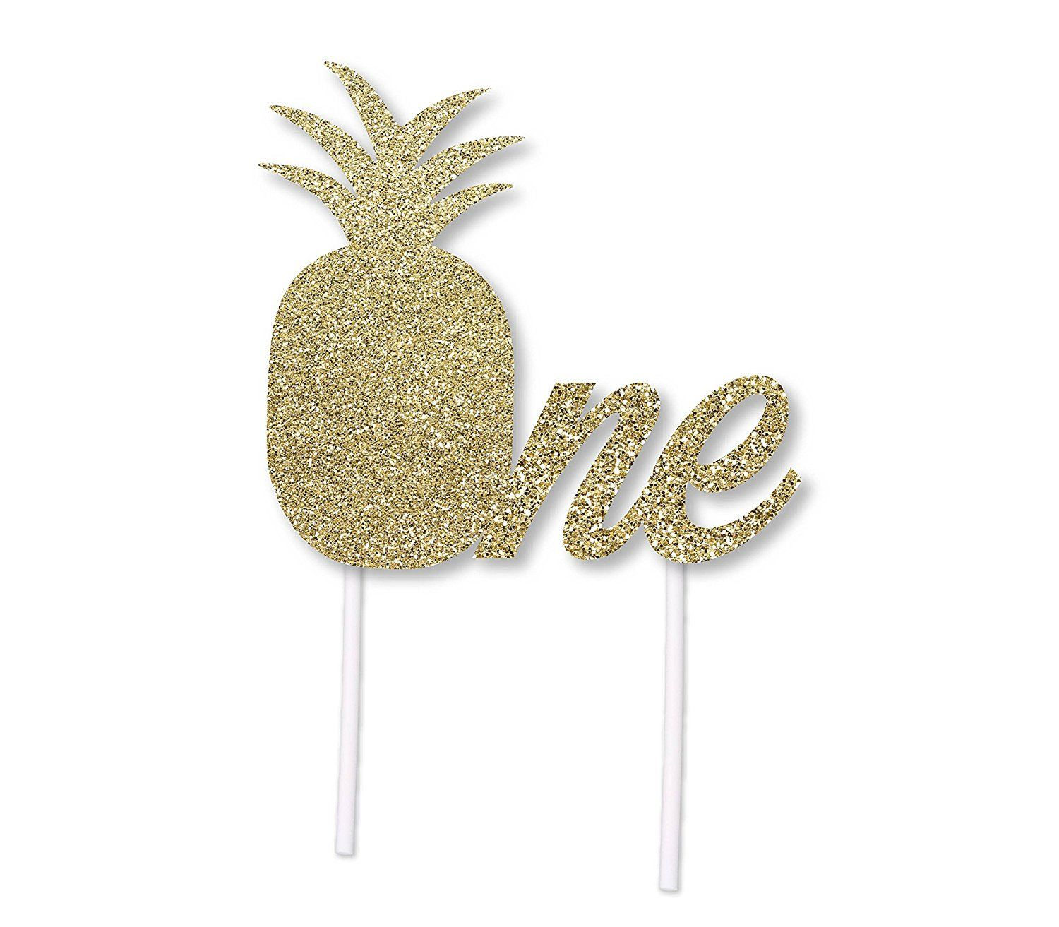 Luau party ideas pineapple birthday cake topper in gold