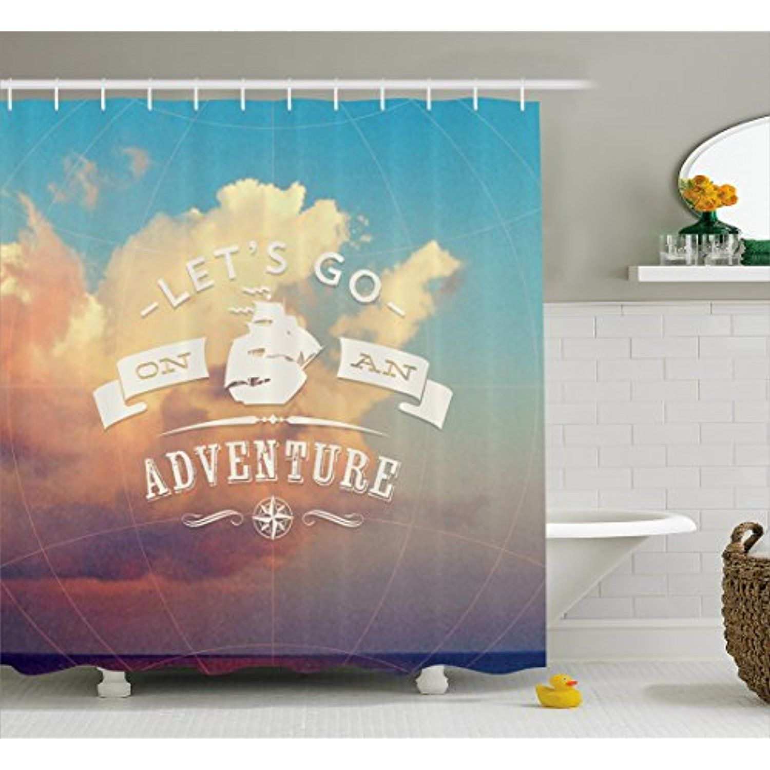 Adventure Shower Curtain by Ambesonne Open Sky with Sublime Cloud