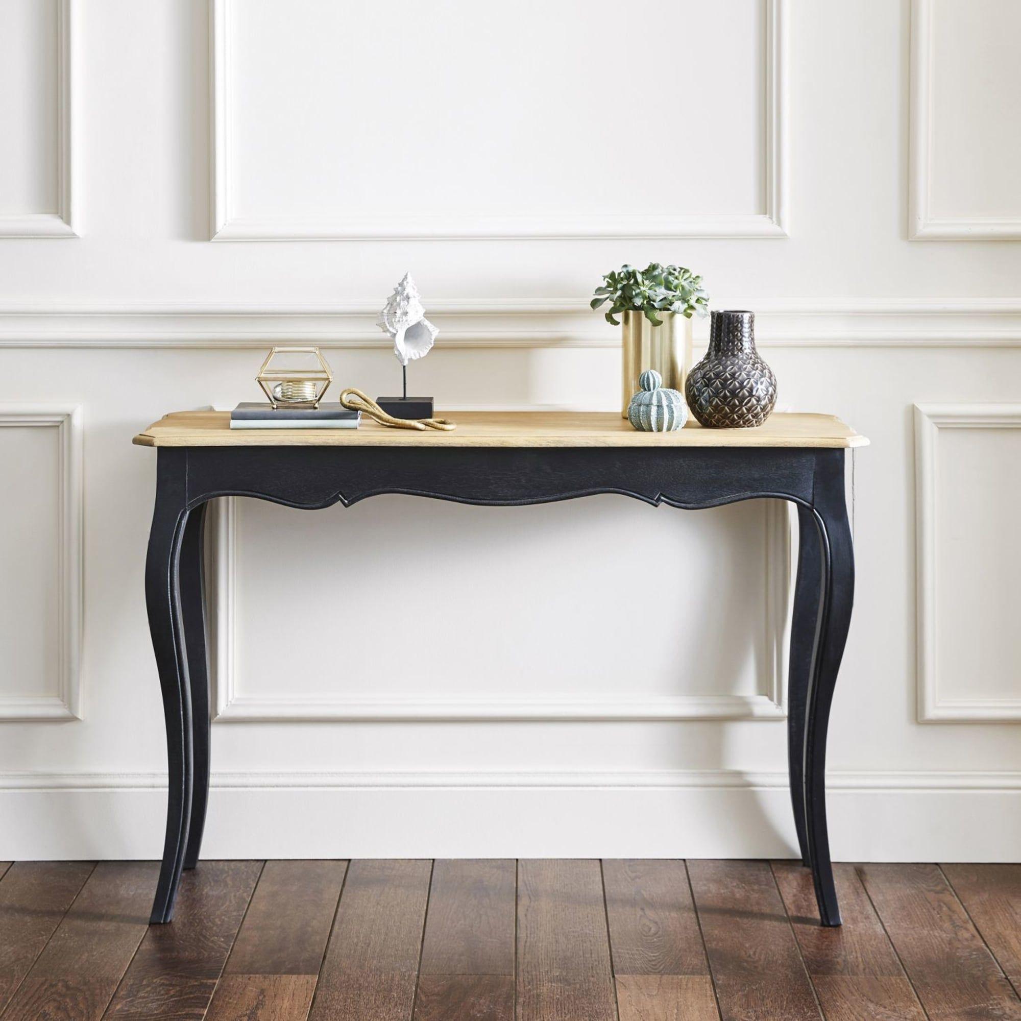 Table console en manguier massif noire Versailles  Maisons du