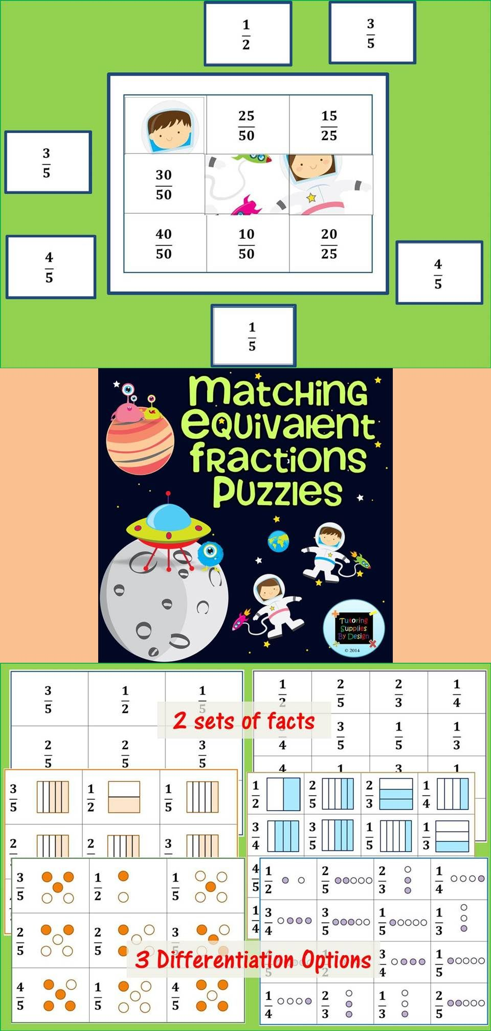 Equivalent Fractions Match Up 2 {Puzzles & Worksheets ...