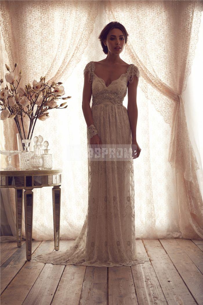 A-line V-back Lace V-neck Brush Train Wedding Dress - Cobbprom.com
