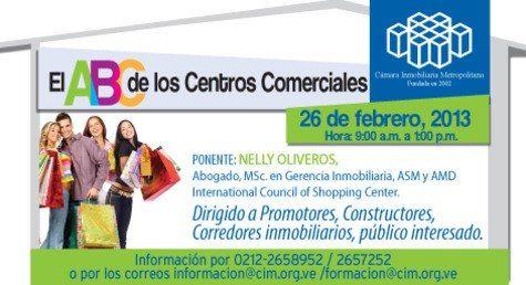 """Últimos cupos: Este martes la Cámara Inmobiliaria Metropolitana realizará el taller """"ABC de los centros comerciales"""". ¡Llámanos para asistir! 0212-2658952/2657252"""