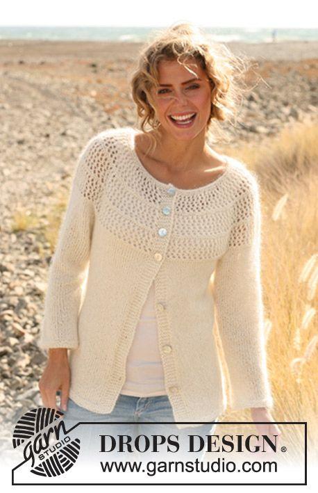 Lace Yoke Knitting Pattern : Knitted DROPS jacket with lace pattern and round yoke in ...