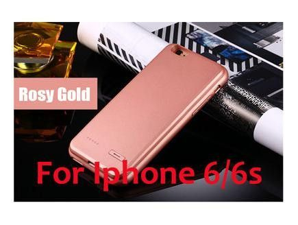 6 S Power Bank Case Rechargeable Charge Case For iPhone 6 Plus 6plus for iPhone 6S Plus Silicon Case Battery Extra Black Rose