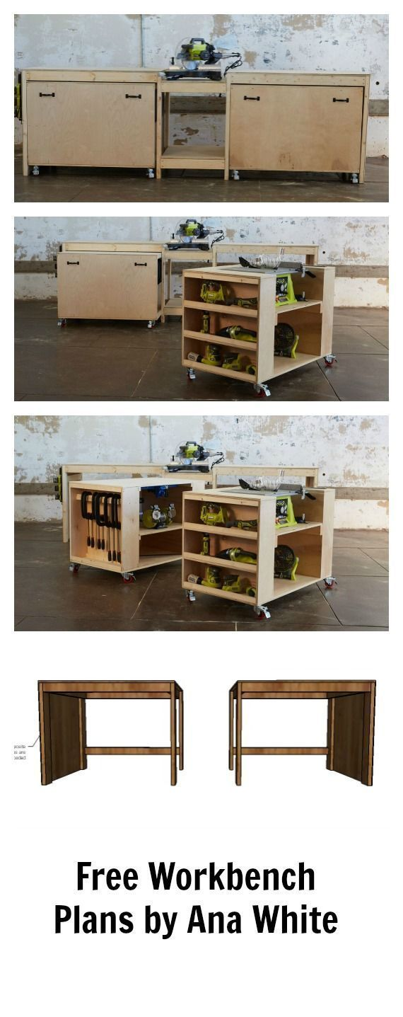 Amazing easy roll away diy workbench with built in mitersaw, table saw and kreg jig.  Free plans by ana- space saving design features two large work carts with embedded bench tools. Make building easier!
