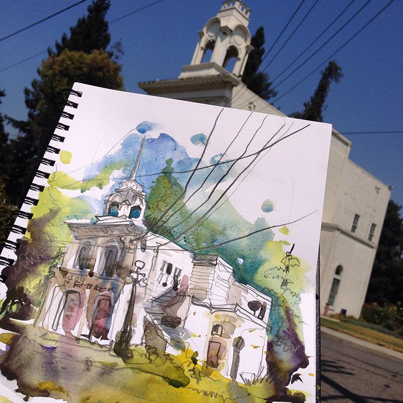 loose and free watercolor painting urban sketching and suhita shirodkar - Free Sketches To Paint
