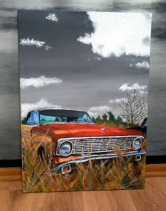 Hand Drawn Painting Of Vintage Car 100 Cotton Canvas On Frame Canvas Art Painting Motorcycle Art Painting Vintage Car Painting