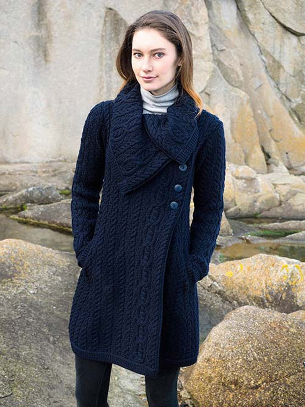 Chunky Aran Button Coat X4416 *Price includes delivery to USA ...