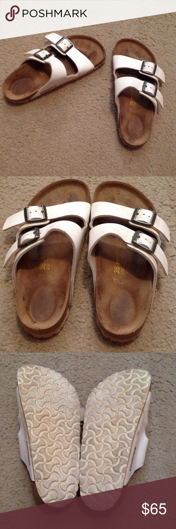 5723be8c544b White Birkenstock Sandals size 36 These are in used condition