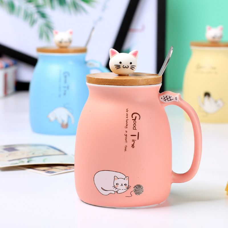 Cat Japanese Creative Coffee Mug With Lid With Spoon Review Best Buymorecoffee Com Creative Coffee Mugs Ceramic Cups