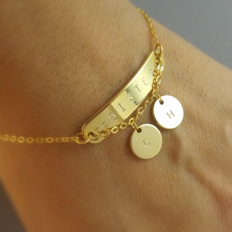 Custom Name Bracelet Sister Gift Sisters Family Mothers