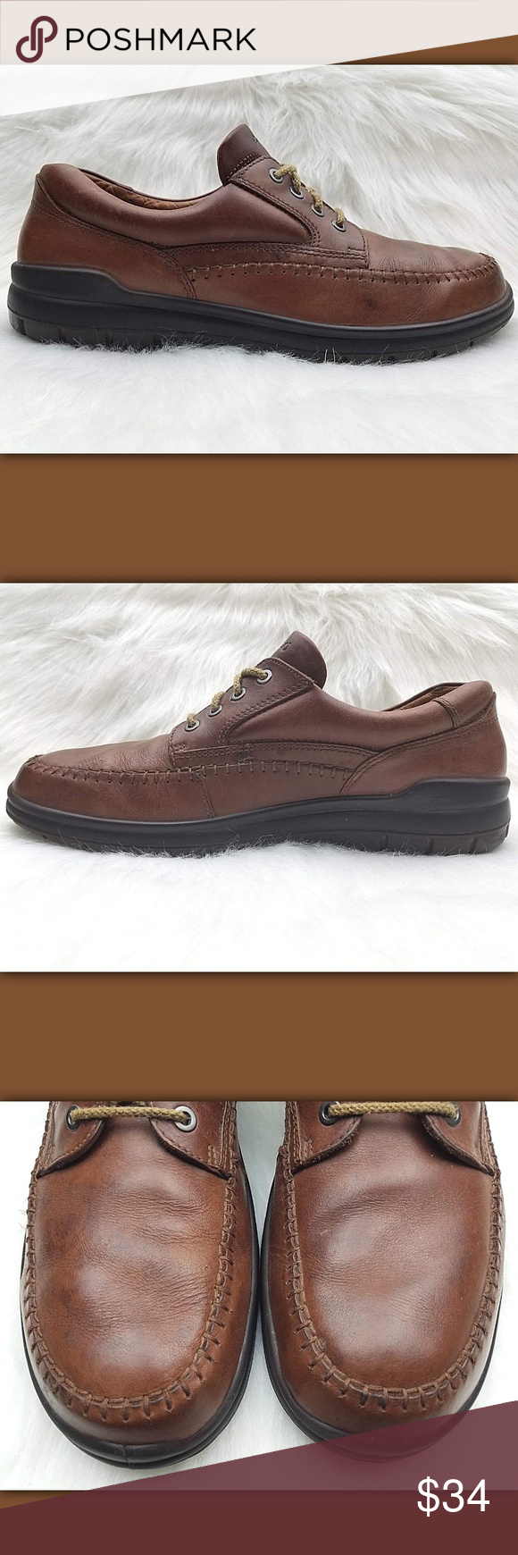 ECCO Seawalker Brown Leather Casual Derby Shoes ECCO MEN S CASUAL DERBY  SHOES Style  Seawalker Color 71d75de8ba695