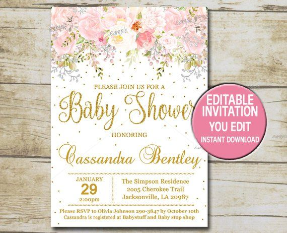 Gold Baby Shower Invitation Template Editable