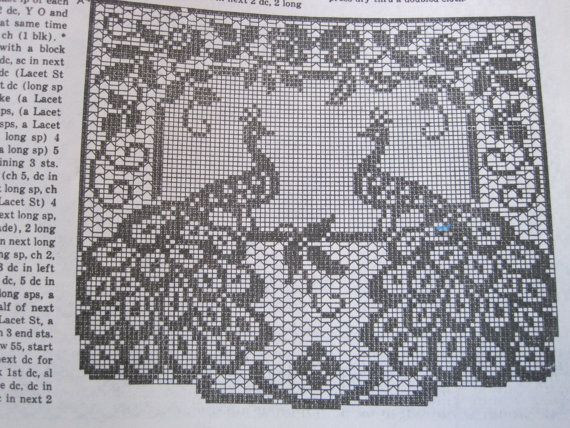 Crochet Pattern - Filet Crochet - Peacock Chair Set | Basteln ...