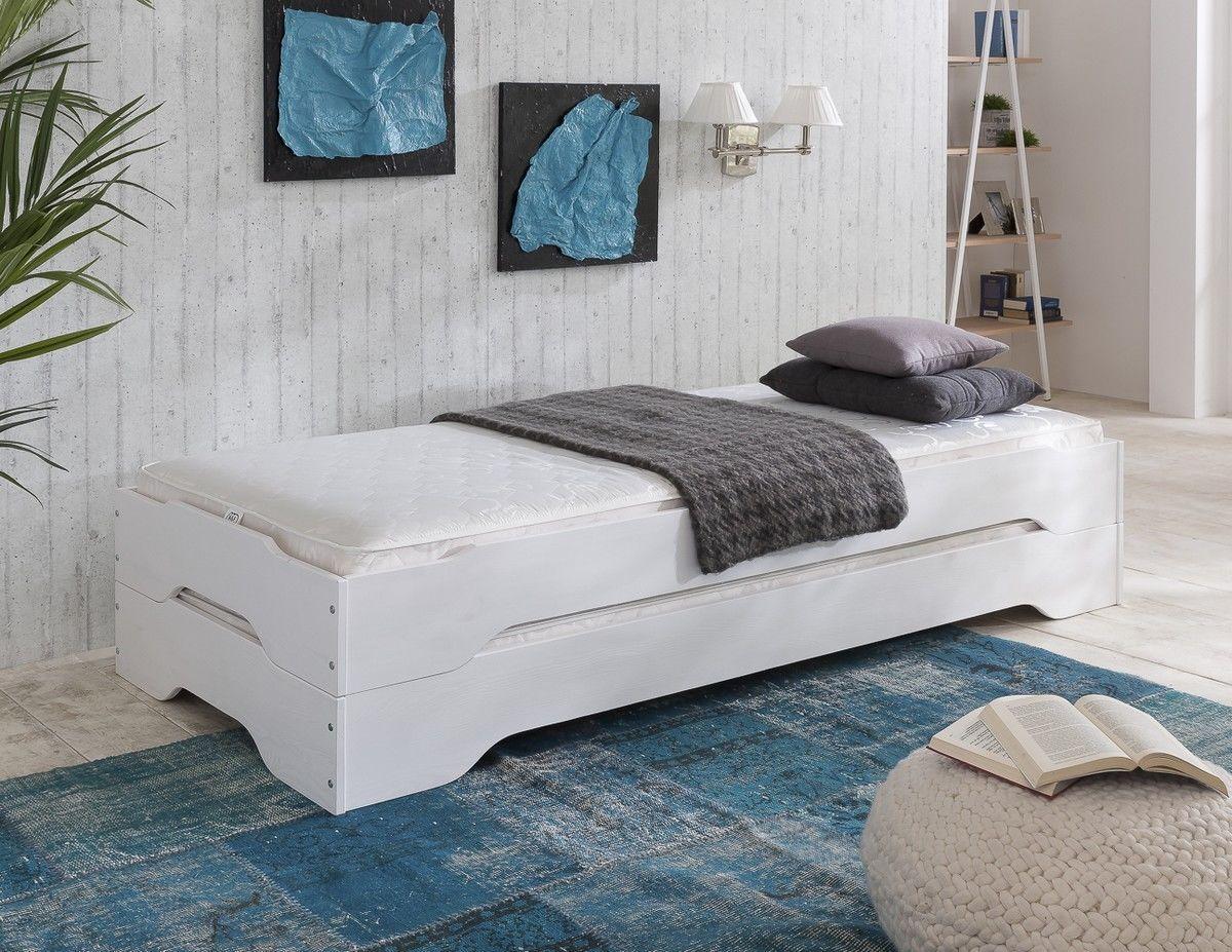 Stapelbett Gästebett Bett 90x200 Kiefer massiv weiss zwei ...