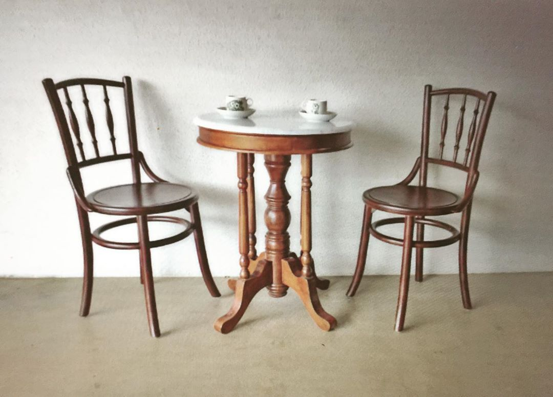 Classic Kopitiam Chairs And Table Ideal For Two Table Comes In Custom Size Solid Teak Choice Of Finishing White Marble Top