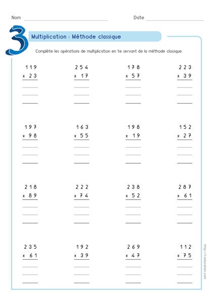 Super contenu sur multiplication pos e m thode classique activit enfants - Evaluation multiplication ce2 a imprimer ...
