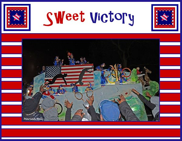 """The photographic image on this poster, depicting an Olympic gymnastics event, was taken during a Maids of Mirth Mardi Gras parade in Mobile, Alabama during the 2013 Carnival season. The image alone, """"Sweet Victory"""" can be seen/purchased from my Mardi Gras gallery.Find this image and more for sale at marian-bell.pixels.com  and  marian-bell.fineartamerica.com  More items for sale at zazzle.com/marianbellbellaspix* artistrising.com/galleries/marianbell"""