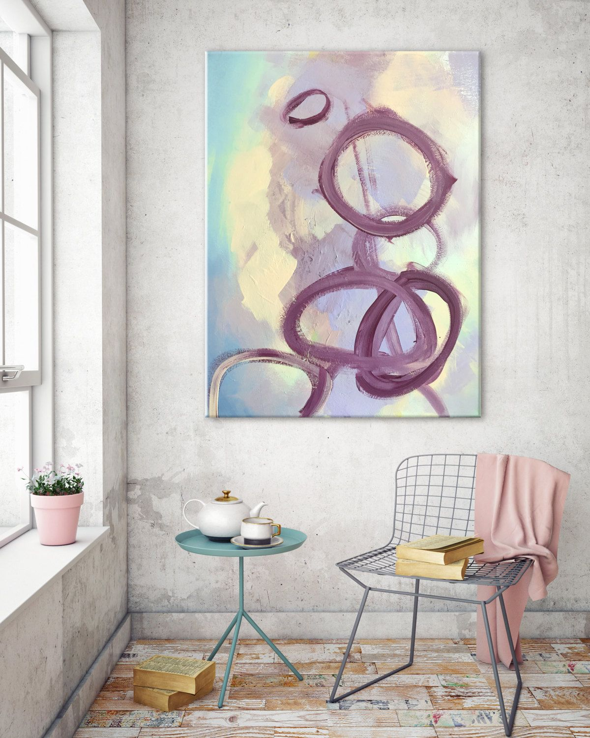 Abstract Purple Circle Art For Nursery Bedroom Living Room Dining