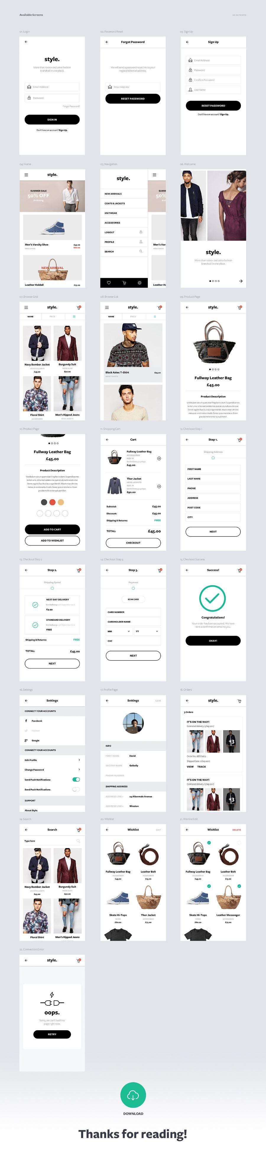 Style Free ECommerce UI Kit   UX/UI   App ui design