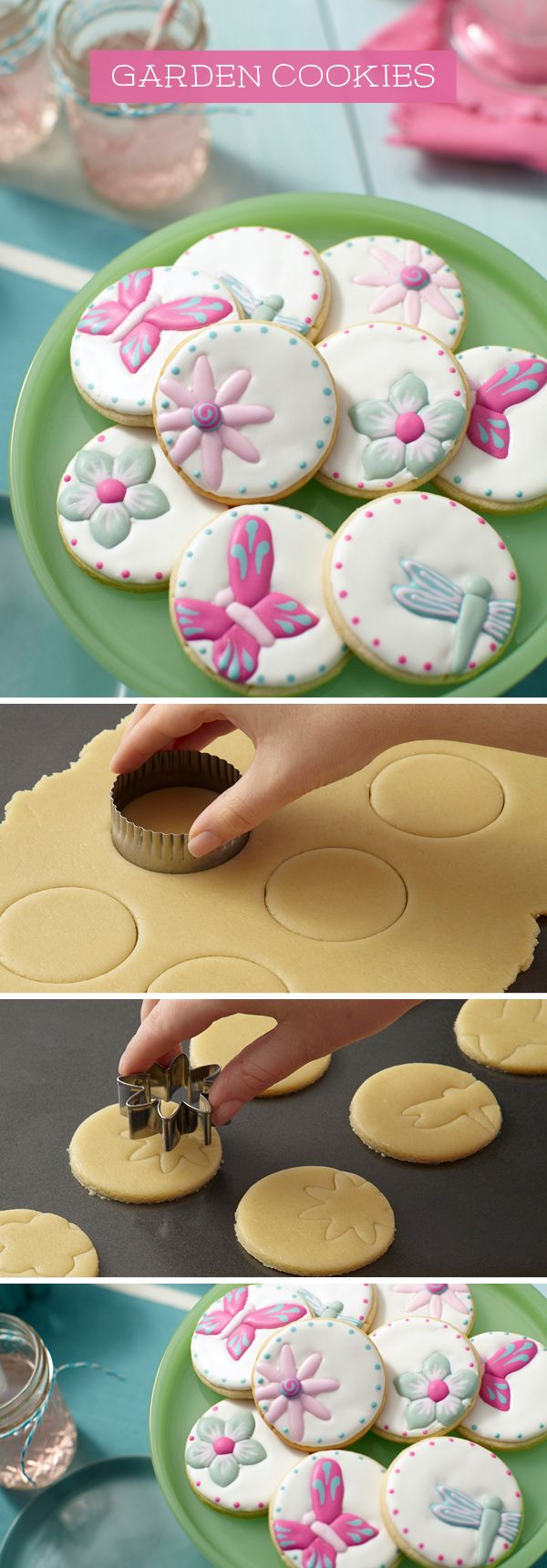 Make royal icing cookies by imprinting shapes on cookie dough to outline decorations.