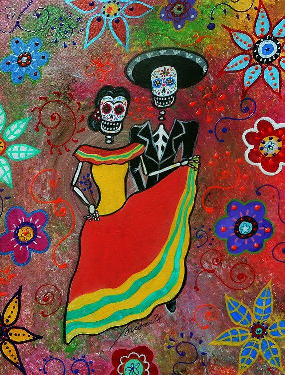 c3542672e968 Folk Art Painting Mexican Dia de los Muertos Bailar by prisarts ...