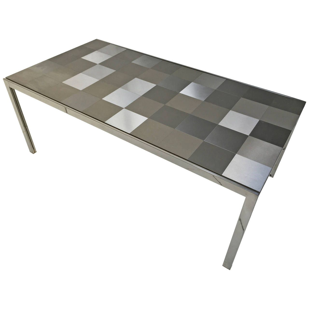 Stainless Steel Luar Op Art Dining Table By Ross Littell For Icf Dining Table Stainless Steel Tile Dining Room Table
