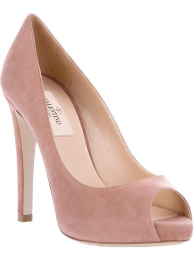 6322e946593d Pink suede pump from Valentino featuring a peep toe