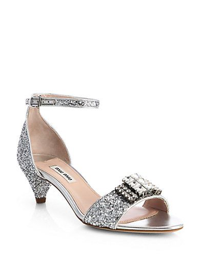 0cbc2aed8f19 Miu Miu - Jeweled Glitter Kitten-Heel Sandals - Saks.com