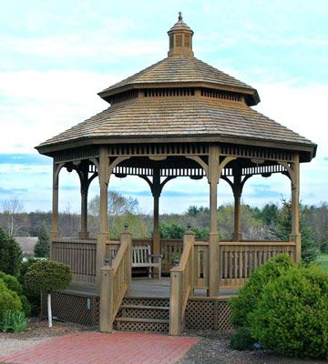 Holz Pavillon Im Garten Doppel Dach Hochzeitstorte   Landscaping ... Holz Pavillon Im Garten Bauarten