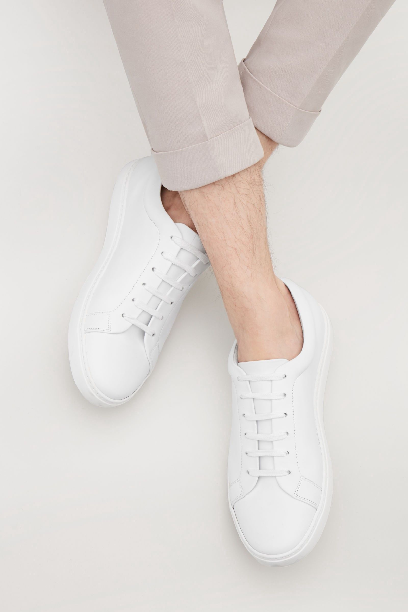 9ba97bca237 Cos Slim-Sole Lace-Up Sneakers - White 8.5 in 2019