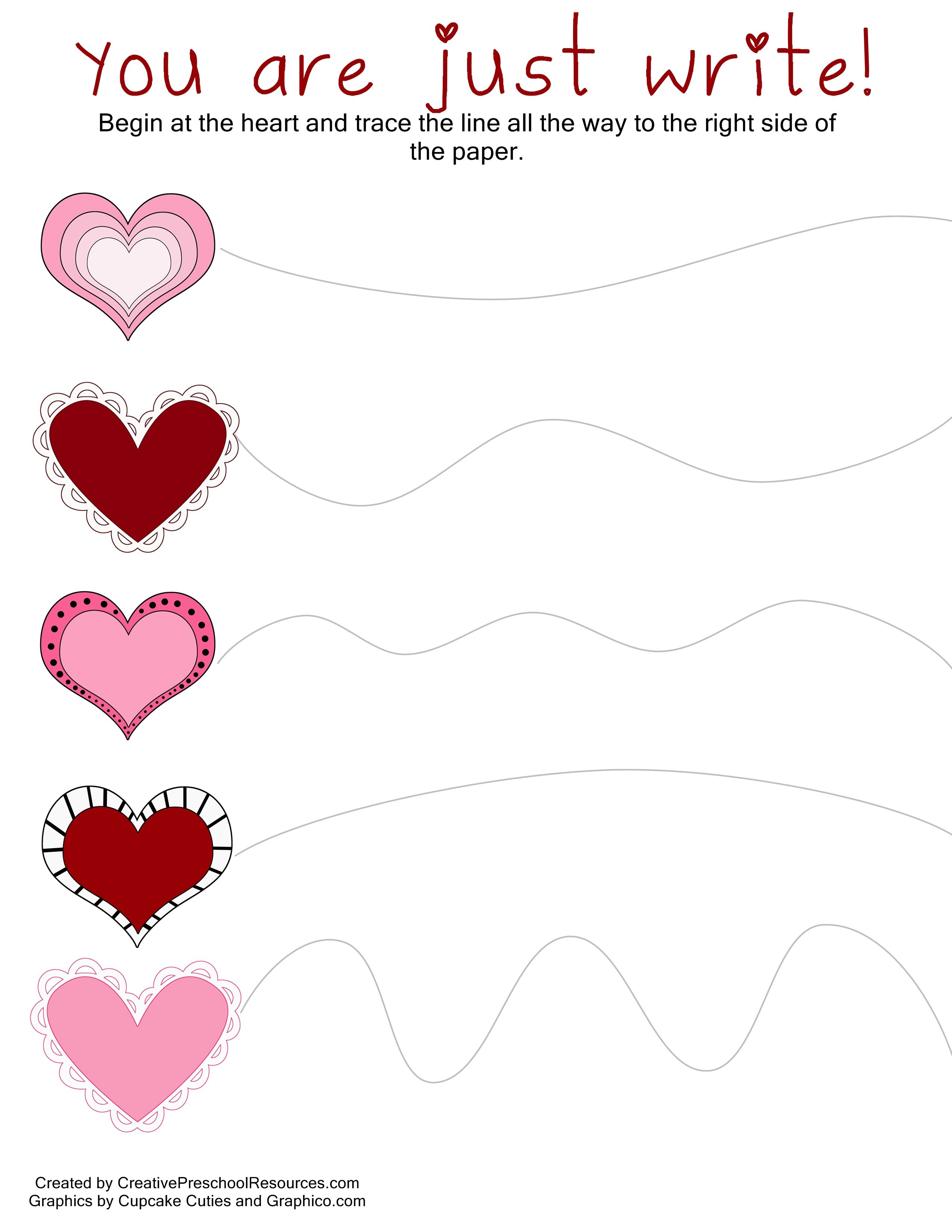 valentine trace cut printables - Tracing Activities For Kids