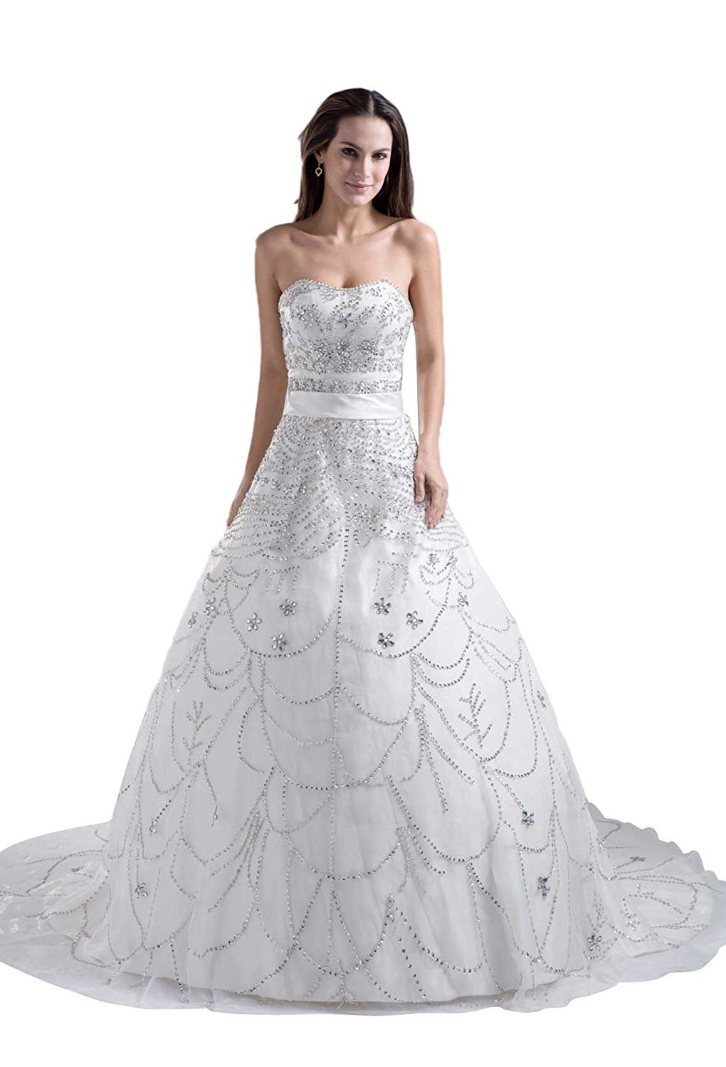 Angel Formal Dresses Women's Strapless Beading Cathedral