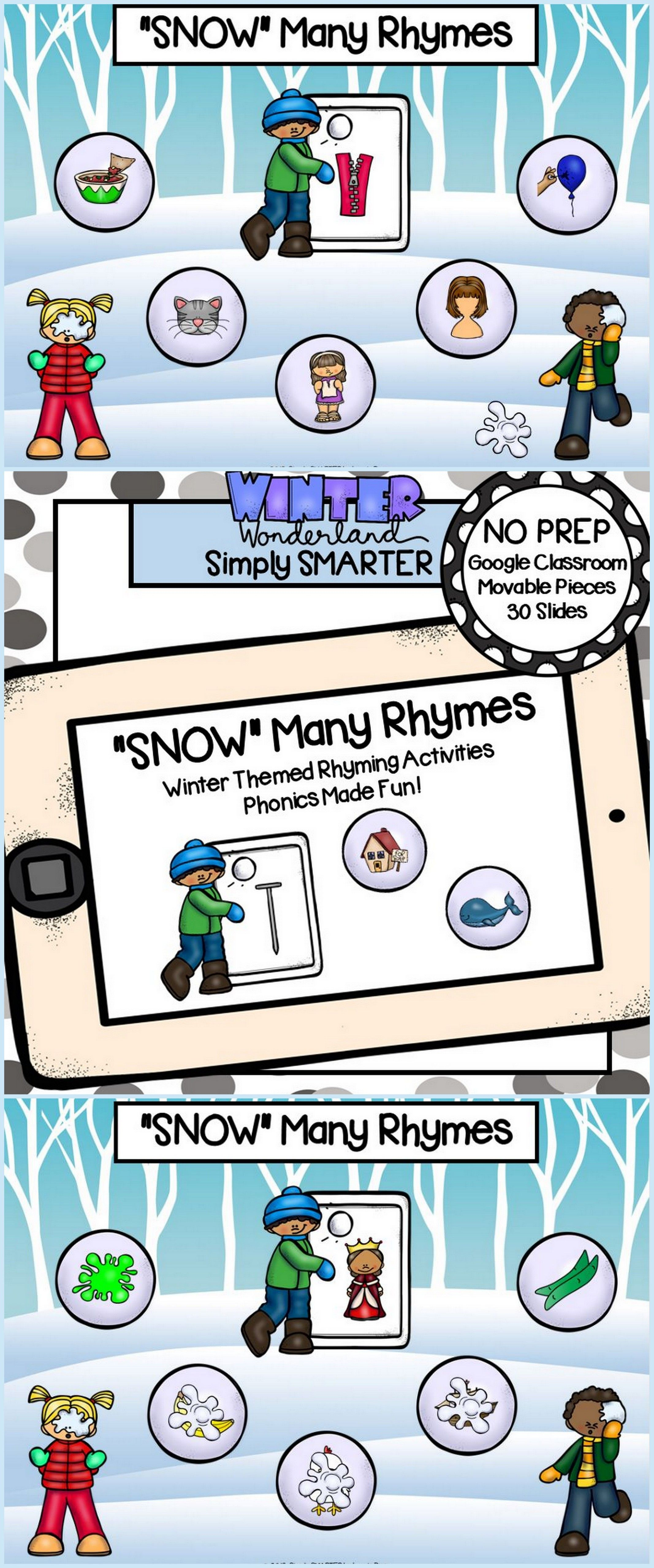 Winter Themed Rhyming Activities For Classroom