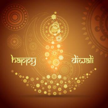 Vector Floral Art Pattern Artistic Diya Design With Happy Diwali Typography Logo Diwali Greeting Cards Diwali Greetings Happy Diwali