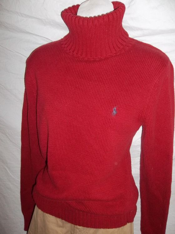 Ralph Lauren Women's Dark Red Turtleneck Sweater Blue Label Size M ...