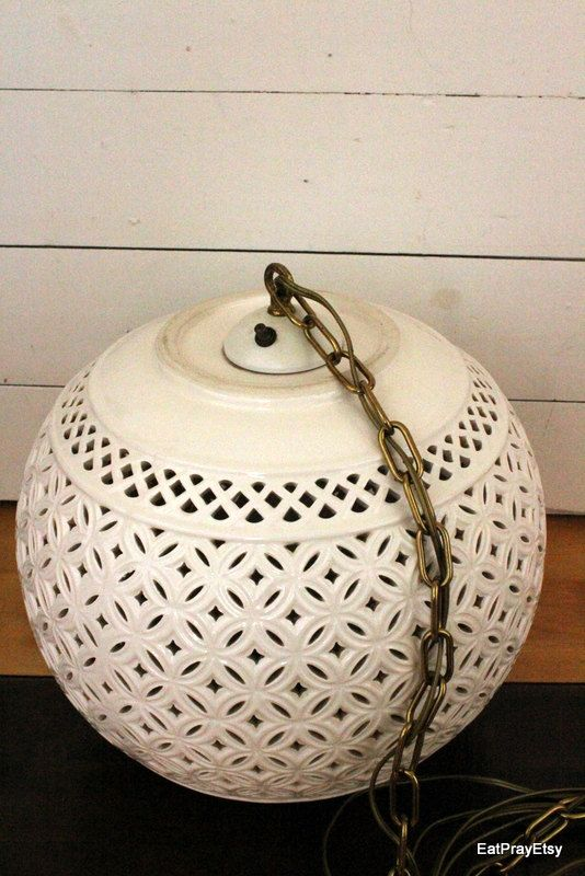 round vintage swag lamp Vintage White Ceramic Globe Swag Light by