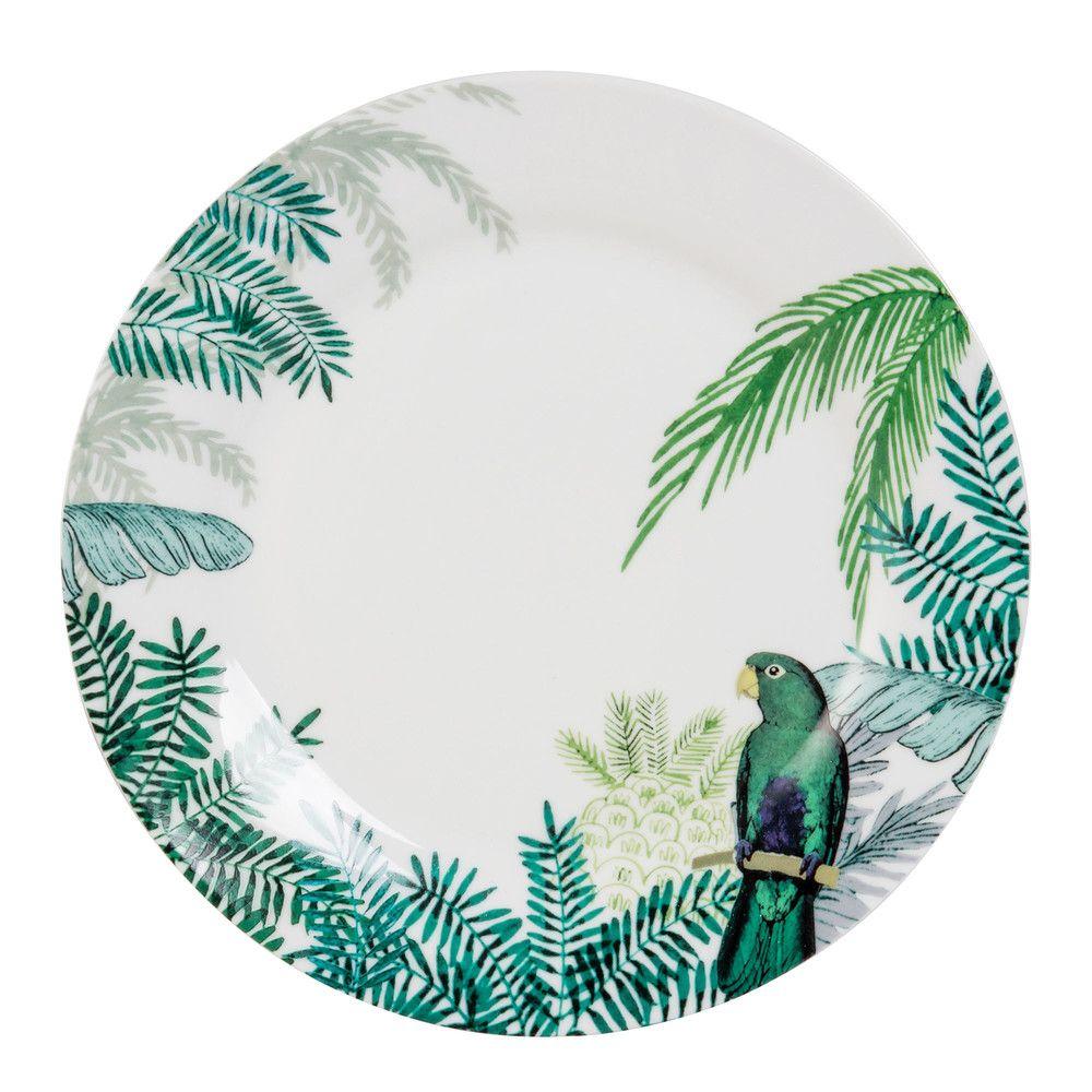 assiette plate en porcelaine imprim tropical pinterest assiettes plates maison du monde et. Black Bedroom Furniture Sets. Home Design Ideas