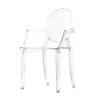 Good Polycarbonate Stackable Louis Style Clear Ghost Chair With Armrests