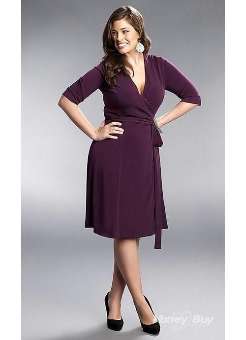 A generally good dress for weddings. v neck knee length grape ...