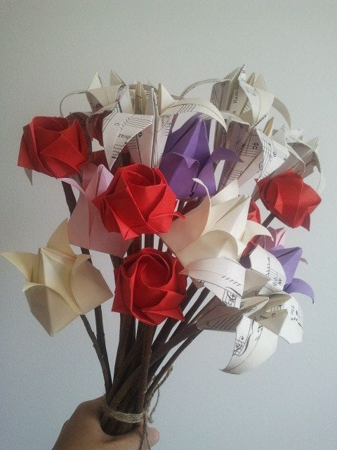 I love you everlast origami flowers bouquet for lady pick and mix i love you everlast origami flowers bouquet for lady pick and mix from rose lilies tulips any colour any paper 16 stems 43 meiorigami at etsy mightylinksfo