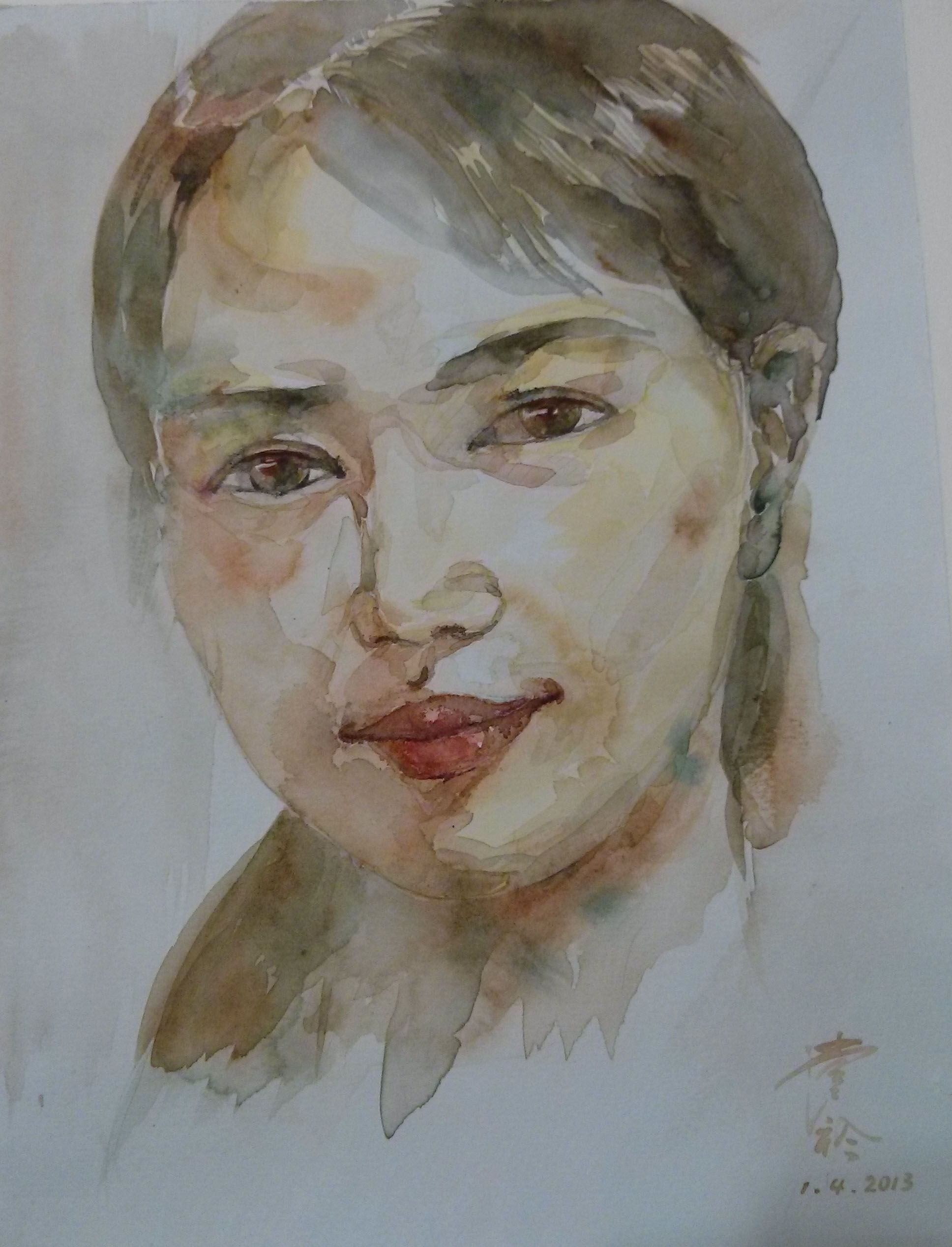 Portrait By Tintin Watercolor Tintin Ding Watercolor
