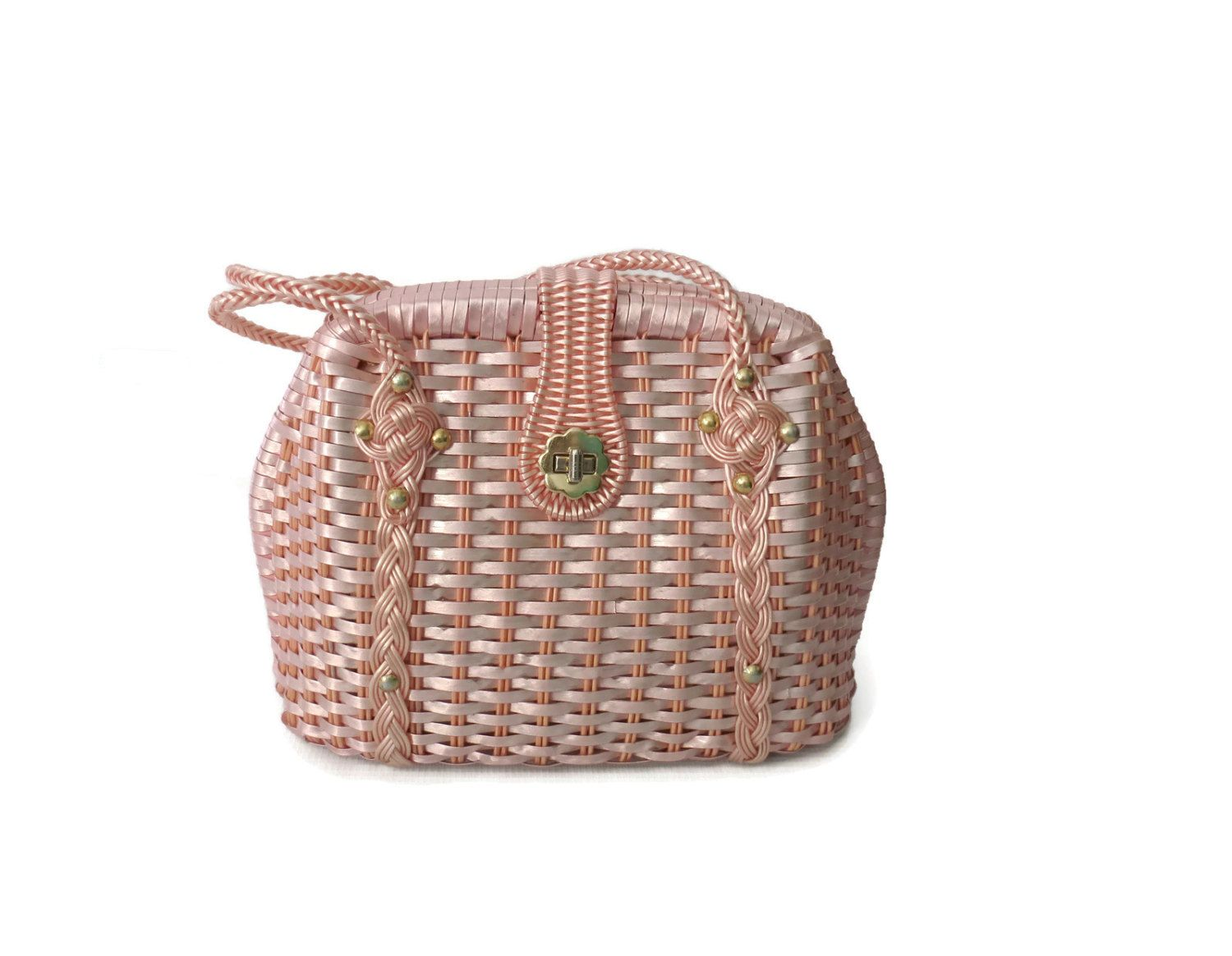 Wicker Purse Pink Woven Handbag Plastic Braided Bag 60s 1960s Ice Pink Metallic 1960s Mid Century Pastel Vegan by GoodLuxeVintage on Etsy