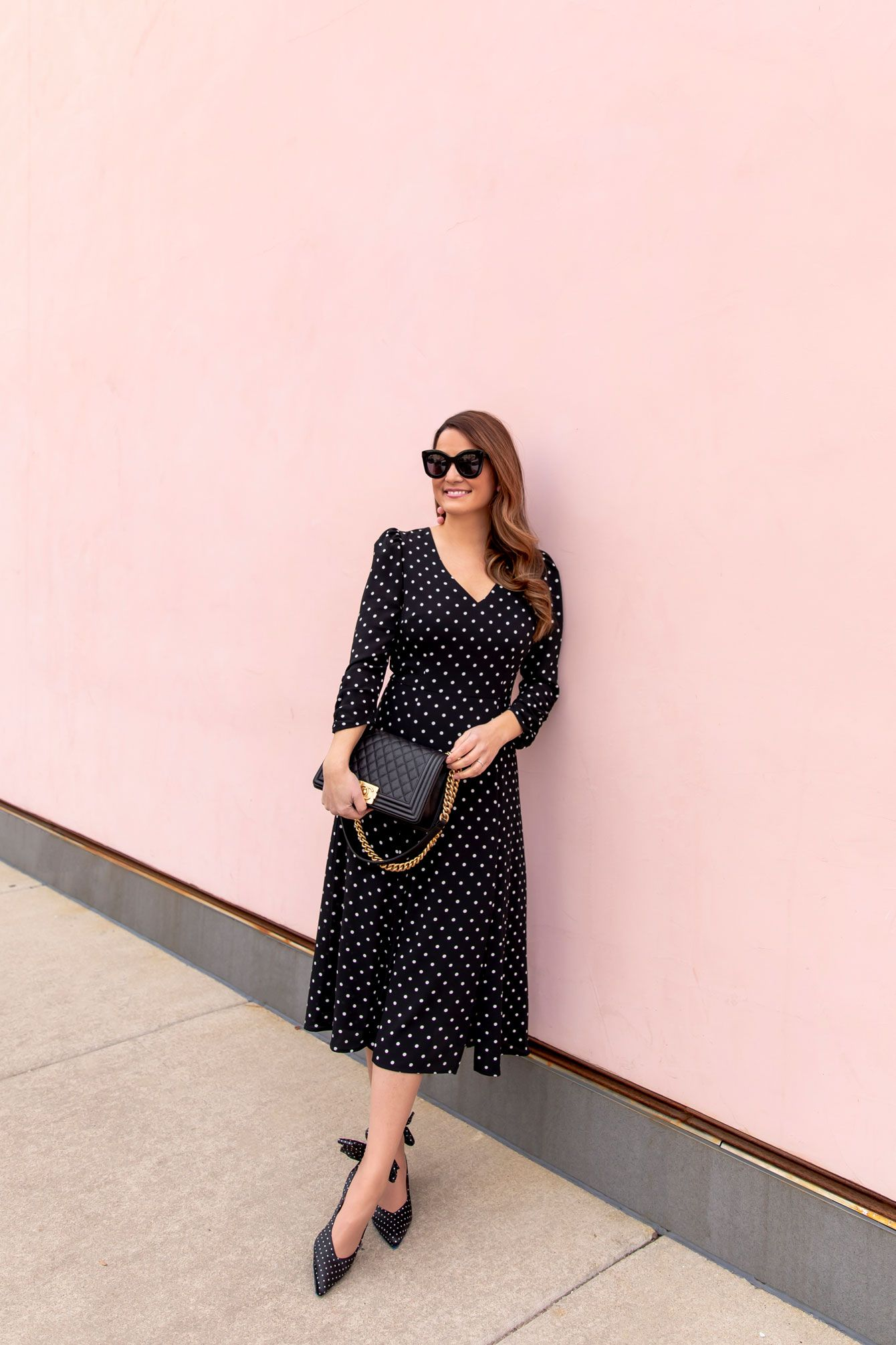 Styling A Long Sleeve Polka Dot Midi Dress Style Charade Midi Dress Style Medi Dress Midi Dress [ 2010 x 1340 Pixel ]