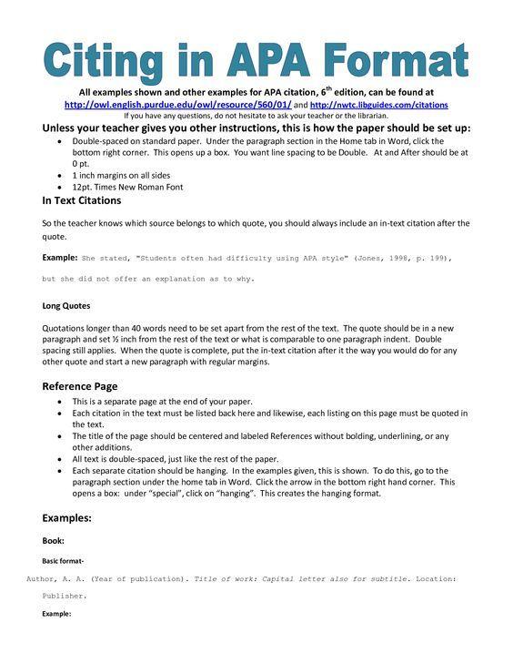 example of apa citation in paper APA citation handout ELA - paper formatting guidelines