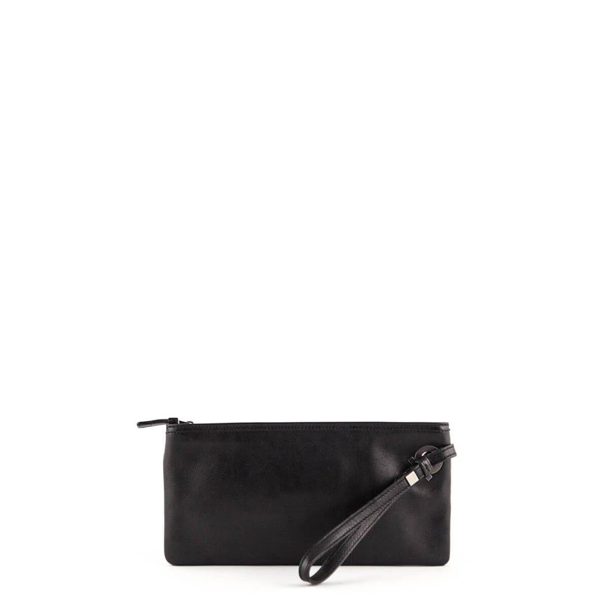 Salvatore Ferragamo Black Leather Wristlet Clutch Lovethatbag